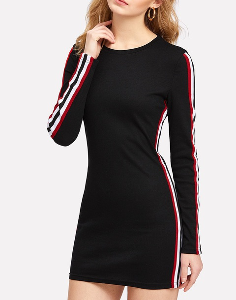 dress black bodycon red girly black dress bodycon dress long sleeves white stripes