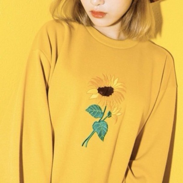 Sweater: yellow, yellow flower, flowers, cute, grunge, sunflower ...