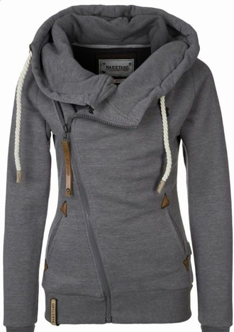 sweater grey sweater side zipper big hood