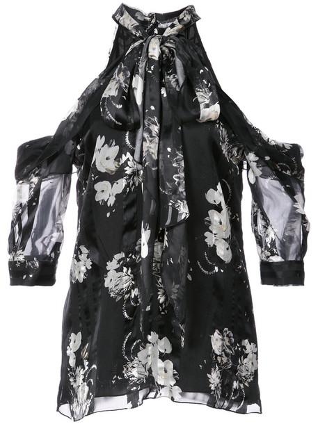 Erdem - cutout shoulder top - women - Silk - 8, Black, Silk