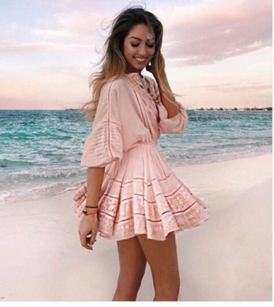 Lace Short Dress with Sleeves