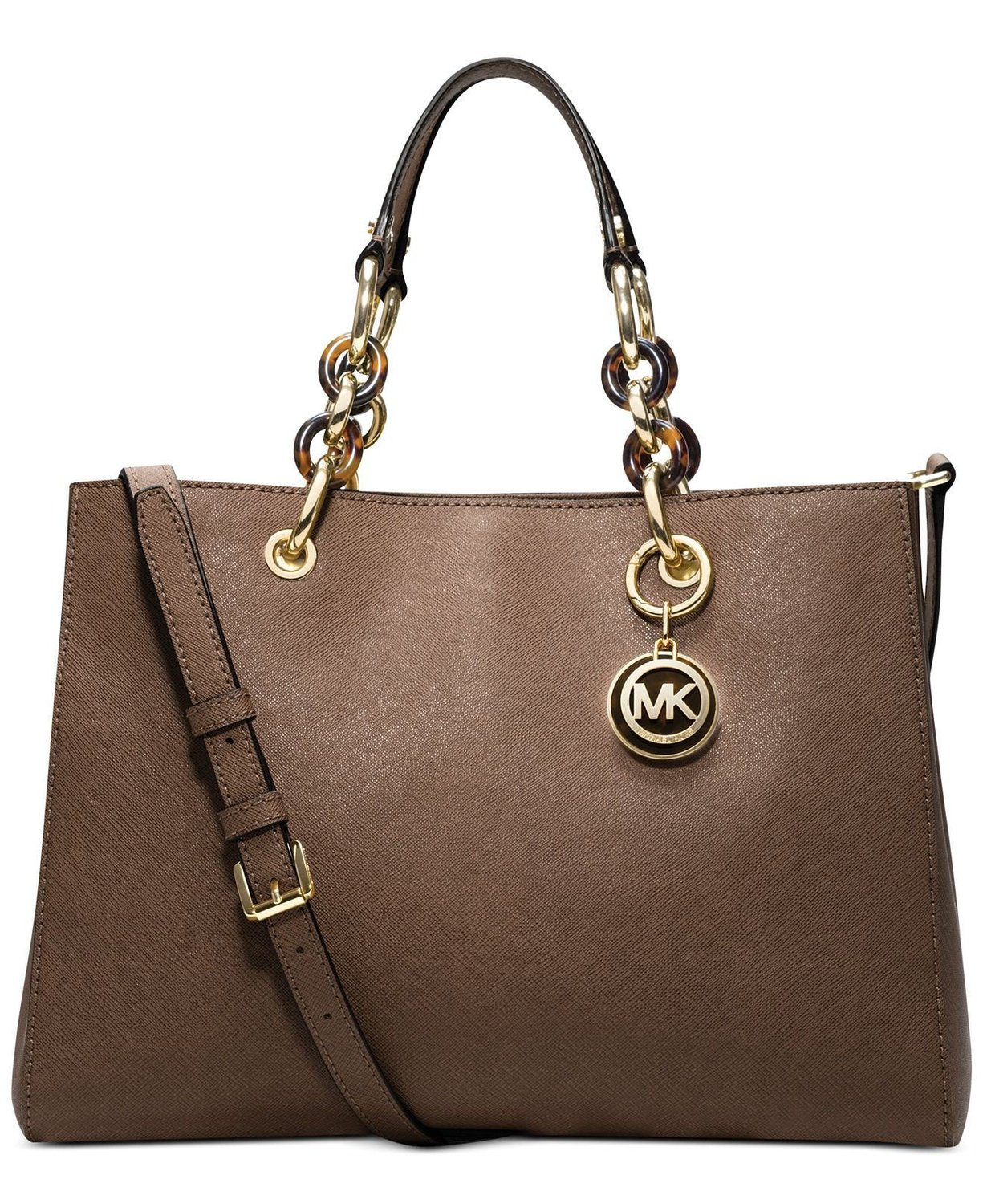 Michael Kors Cynthia Medium Satchel in Dark Dune Brown ... 948508545e7