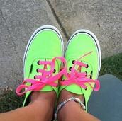 shoes,vans,neon,yellow,black,pink,green