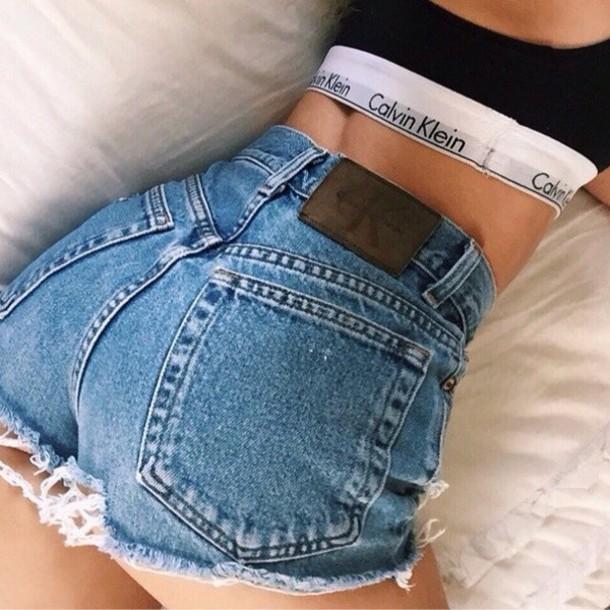 shorts hot pants denim pants denim calvin klein high waisted jeans high wasted calvin klein calvin klein jeans High waisted shorts