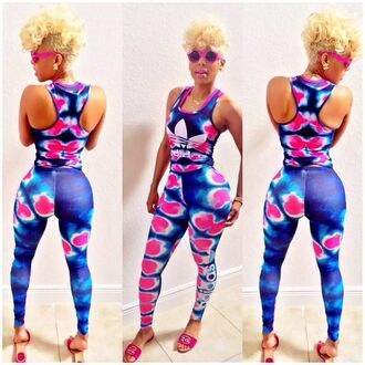 t-shirt shoes need this whole outfit! jumpsuit adidas romper keyshia kaoir two-piece leggings shirt tyedye pink white and blue 2 pc