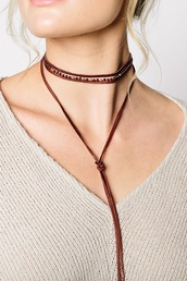 jewels,necklace,leather,wrapped necklace,gold,beaded,garnet,red garnet,bolo necklace,bolo,choker necklace