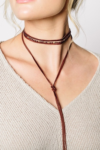 jewels necklace leather wrapped necklace gold beaded garnet red garnet bolo necklace bolo choker necklace