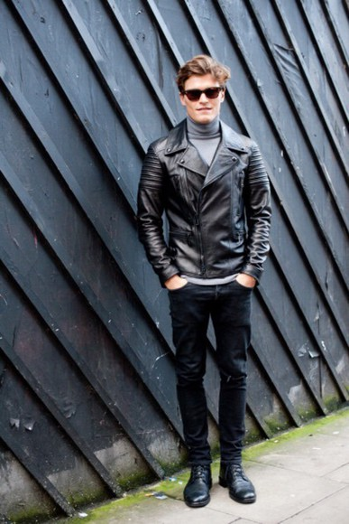 black jeans menswear leather jacket sunglasses oliver cheshire