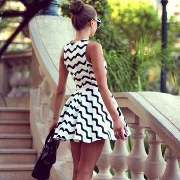 White Black Chevron Print Skater Dress @ Amiclubwear sexy dresses ...