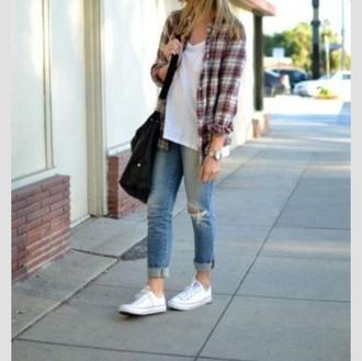 cardigan plaid flannel jeans