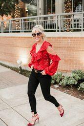 the courtney kerr,blogger,blouse,jeans,shoes,belt,sunglasses,jewels,red top,pumps,red heels,gucci belt,black jeans