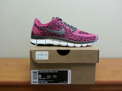 new style 3f136 ba638 Nike Free 5.0 Fireberry Pink Leopard Print Womens 8   Sole Redemption
