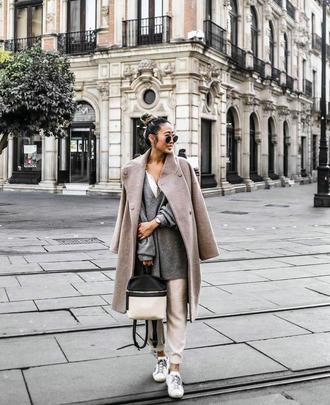 coat tumblr grey coat sweater grey sweater pants nude pants sweatpants casual sneakers white sneakers low top sneakers bag sunglasses