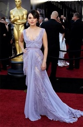 dress,mila kunis,oscars,lavender prom dresses,lavender dress,elie saab,lavender,lace dress,lace