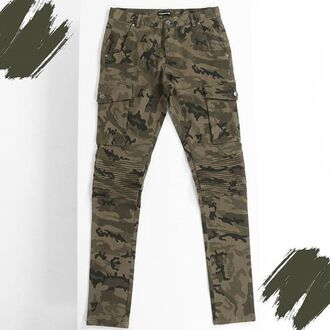 pants maniere de voir camouflage cargo pants jeans khaki jungle pockets ribbed