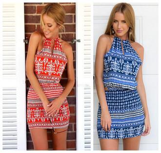 dress bohemian pattern dress boho print  dress halter dress