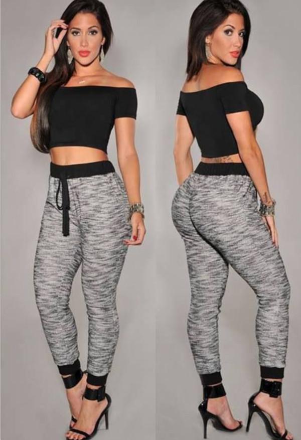 pants high waisted jeggings high waisted pants skinny pants grey and black high waisted joggers