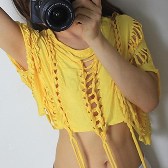 ripped top summer crop top hollowed out girst sexy hollowed