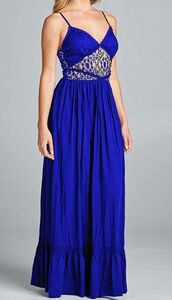 dress,royal blue,v neck,lace,maxi dress