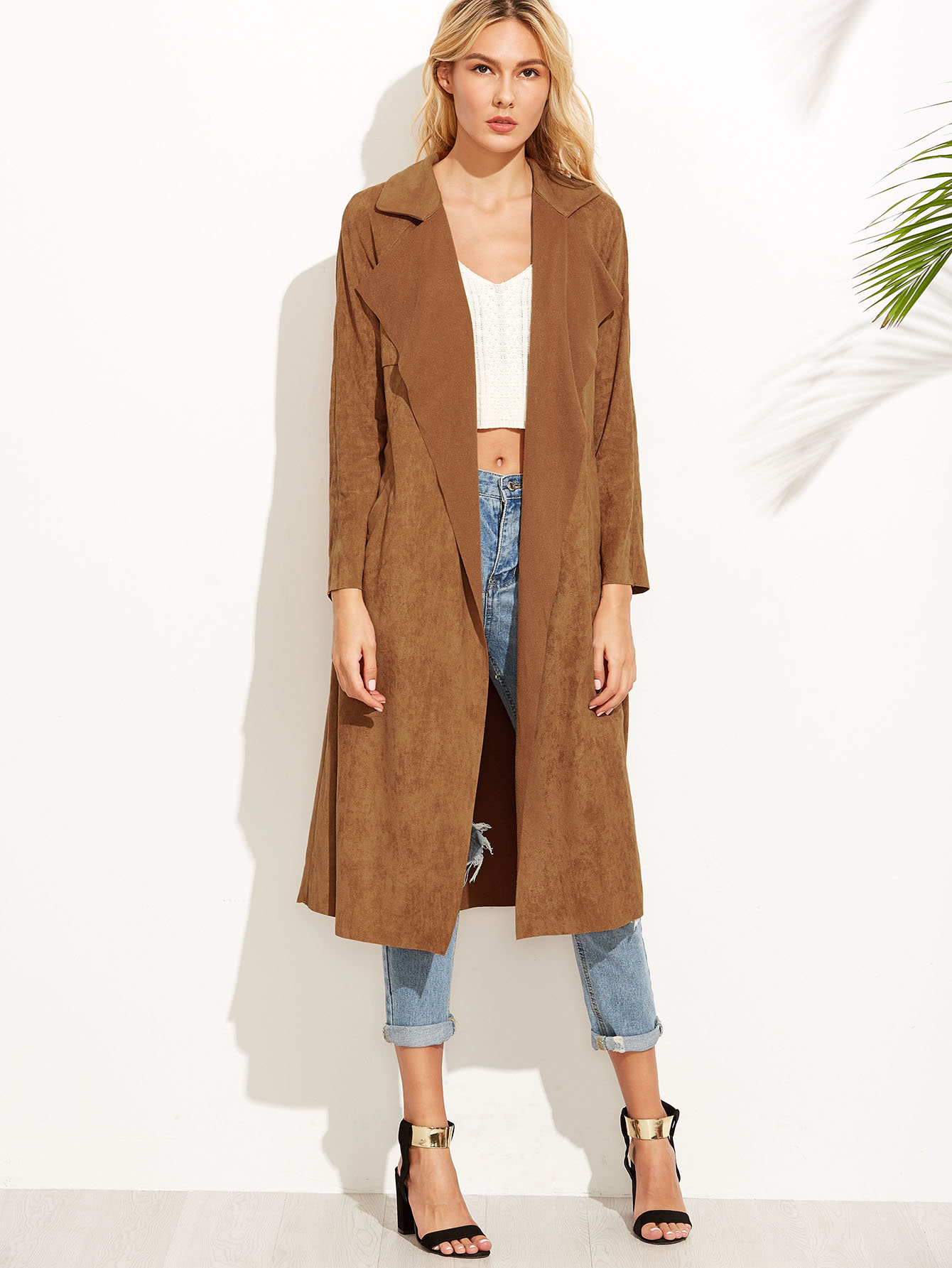 0d79bc41d Brown Suede Self Tie Duster Coat -SheIn(Sheinside)