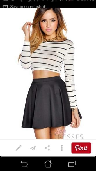 shirt long sleeve crop top black and white striped crop tops black skater skirt