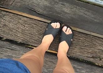 shoes black leather sandles summer dress style fashion boho chic stylish