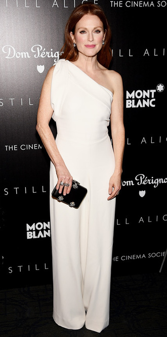 julianne moore alexander mcqueen one shoulder jumpsuit