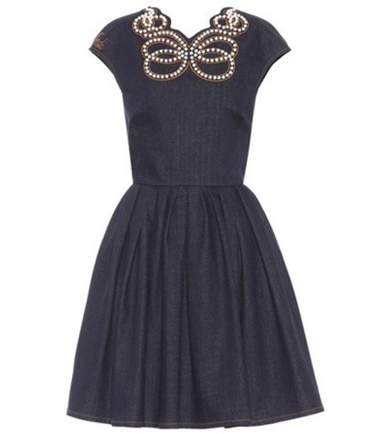 Fendi dress denim dress denim embellished embellished denim blue