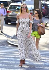 dress,maxi dress,candice swanepoel,off the shoulder,off the shoulder dress,printed dress