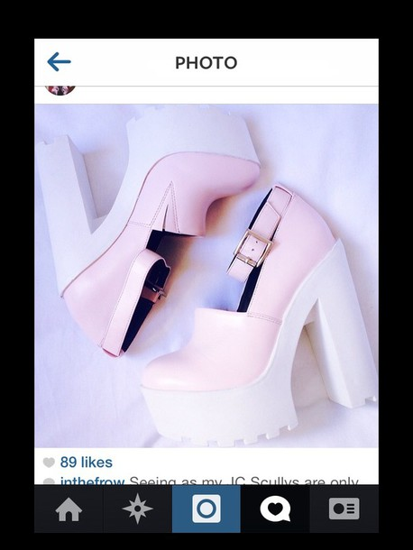 shoes pink white platform shoes heels girly chunky instagram buckles straps platform shoes