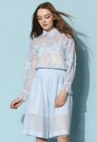 top chicwish flower top light blue organza top chicwish.com embroidered sheer shirt
