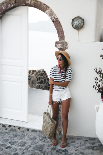 t-shirt tumblr vacation outfits holidays stripes striped t-shirt shorts white shorts denim shorts sandals flat sandals