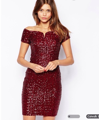 dress sequins bardot midi