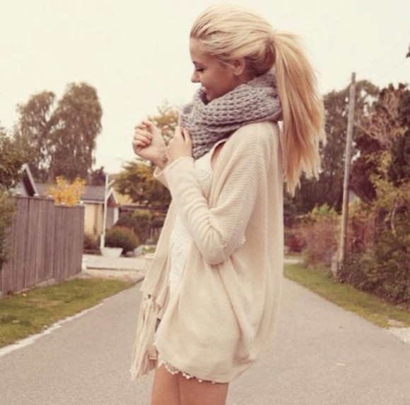 dress white blonde knitted scarf lace cardigan many layers