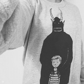 sweater,black and white,monsters,chilly weather,demons,cute outfits,cute sweater,winter outfits,winter sweater,horn,dark,lazy day,where the wild things are,tumblr outfit,fashion,style,black top,comfy,geek,blouse,shirt,top,cardigan