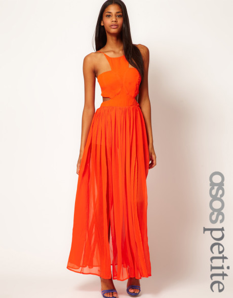 Maxi Dress with Strappy Back in Orange | Lyst