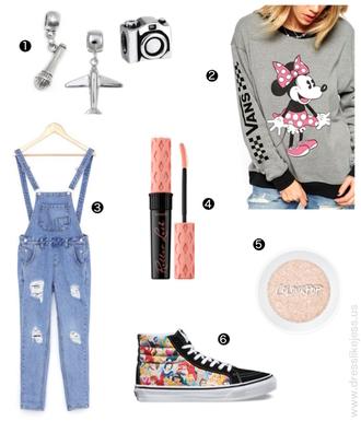dress like jess blogger sweater vans disney denim overalls minnie mouse