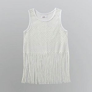 Completely Sheer Lace Fringe Tank Top Crop Top Crochet Gorgeous White XL | eBay
