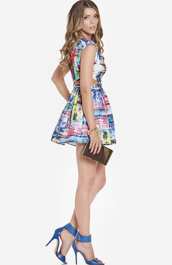 cut-out cut-out dress skater dress rainbow colorful white dress