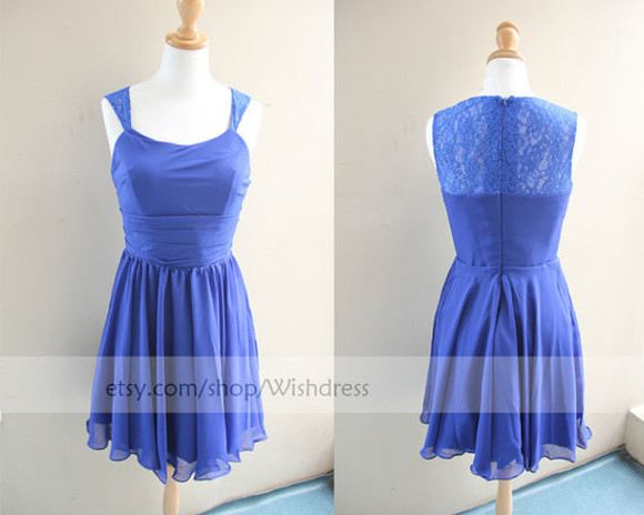 lace top dress short prom dress bridal party dress royal blue bridesmaid dress royal blue dress homecoming dress chiffon dress wedding party dress