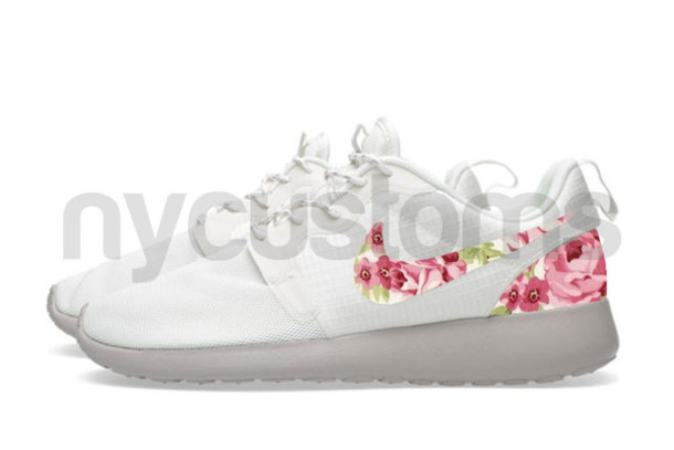 pretty nice 13a56 d76c6 shoes floral floral roses roses women roshes pink white nike roshe run nike  roshes floral nike