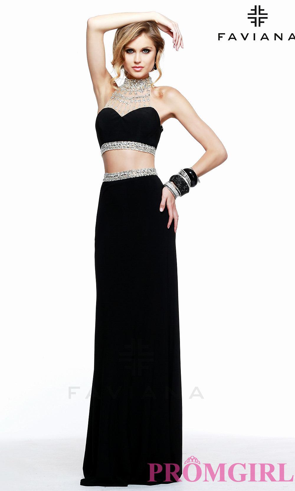 6c1154f21440 Faviana Open Back Two Piece Beaded Prom Dress
