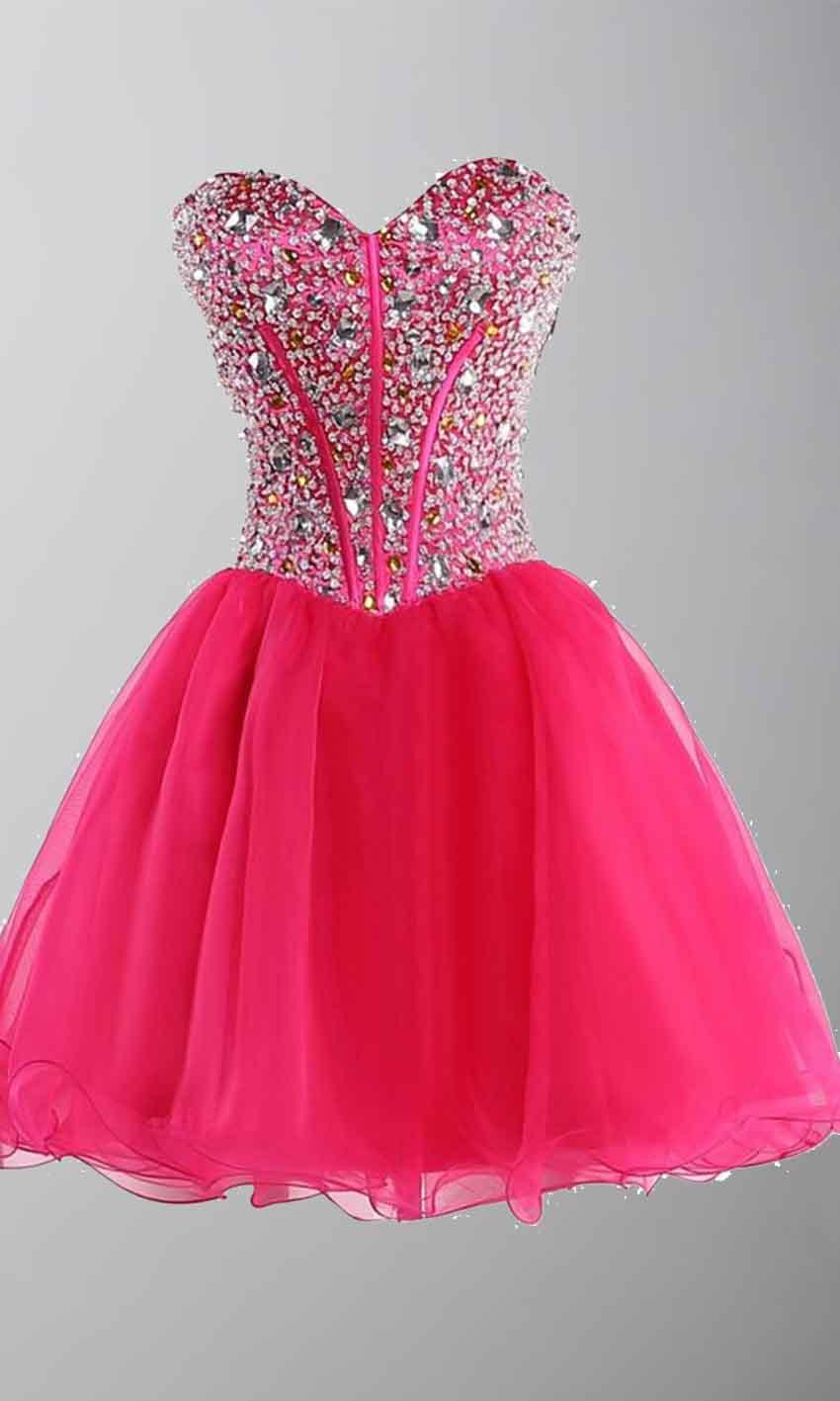 Rhinestone Sweetheart Bodice Short Red Prom Dresses UK KSP403 ...