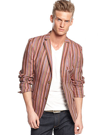 EDGE by WD-NY Striped Linen-Blend Blazer - Blazers & Sport Coats - Men - Macy's