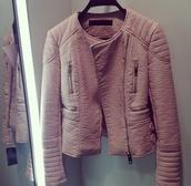 jacket,leather jacket,pink,nude,coat