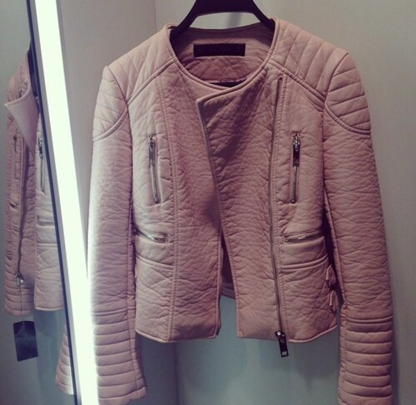 jacket leather jacket pink nude coat