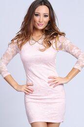 dress,light,pink,bodycon,lace,quarter sleeve,backless,trendy,chic,retro,boho,hippie,vintage,short,mini,bridesmaid,2014