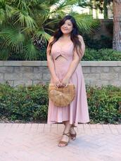 curvy girl chic - plus size fashion and style blog,blogger,dress,tank top,shoes,bag,sandals,cult gaia bag,pink dress,summer outfits