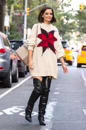 sweater,oversized sweater,boots,over the knee,katie holmes,streetstyle,fall outfits,fall sweater