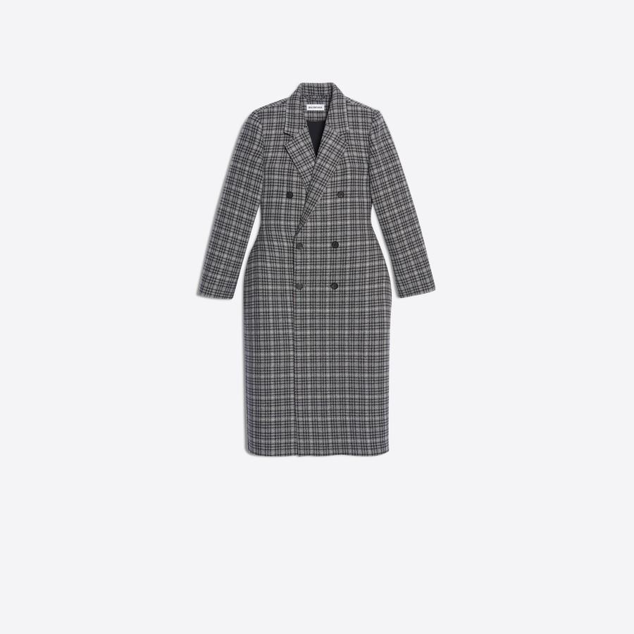 Women's GREY/DARK NAVY  3D Double Breasted Coat  | Balenciaga